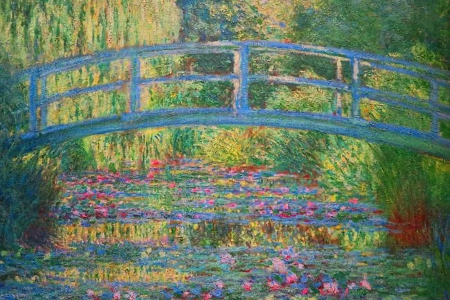 Claude Monet- Japanese bridge and the water lily pond in Giverny
