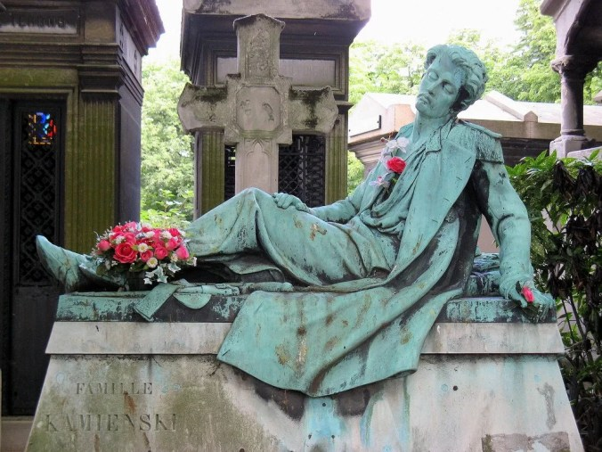 Magnificent sculptured graves in the Montmartre cemetery