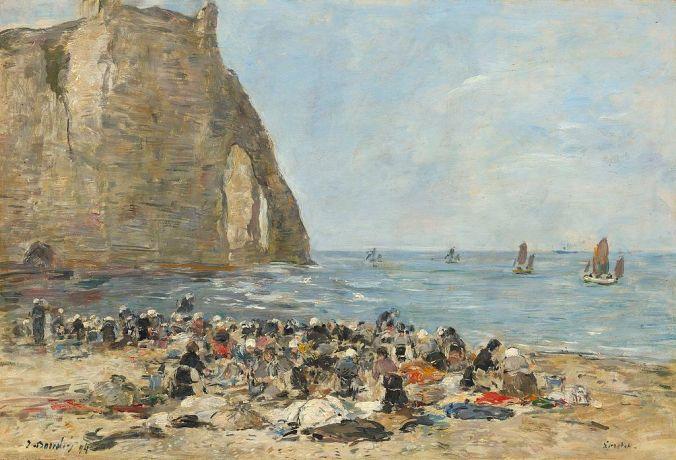 Etretat cliffs painting by Eugene Boudin [Public Domain]