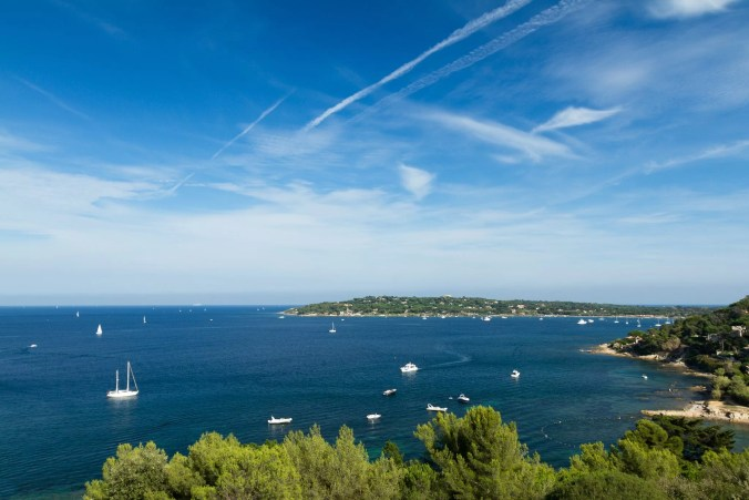 France, Saint Tropez - view of the gulf from above