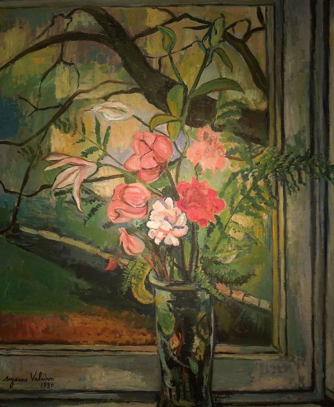 Flowers in Front of a Window - Valadon painting