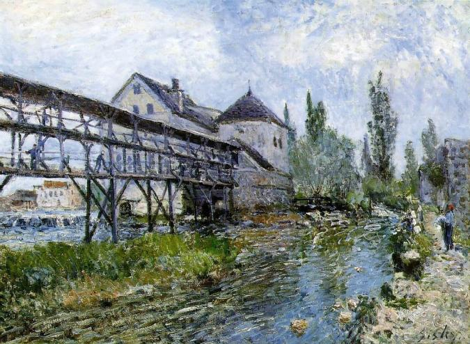 Moret Mill - Alfred Sisley Painting