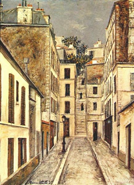 """The streets of Montmartre - Utrillo painting from his """"White Period"""""""