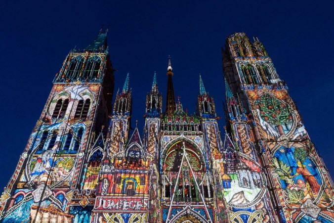 Notra-Dame Cathedral of Rouen lit up in the nightly summer sound & light shows