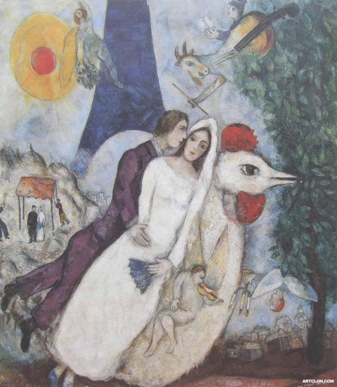 Chagall Painting - The Bride and Groom of the Eiffel Tower
