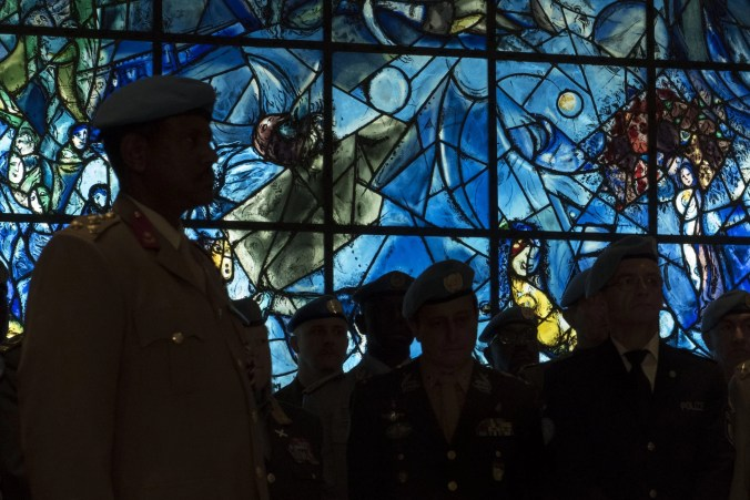 Wreath-laying Ceremony on the International Day of United Nations Peacekeepers  in front of the Peace Window