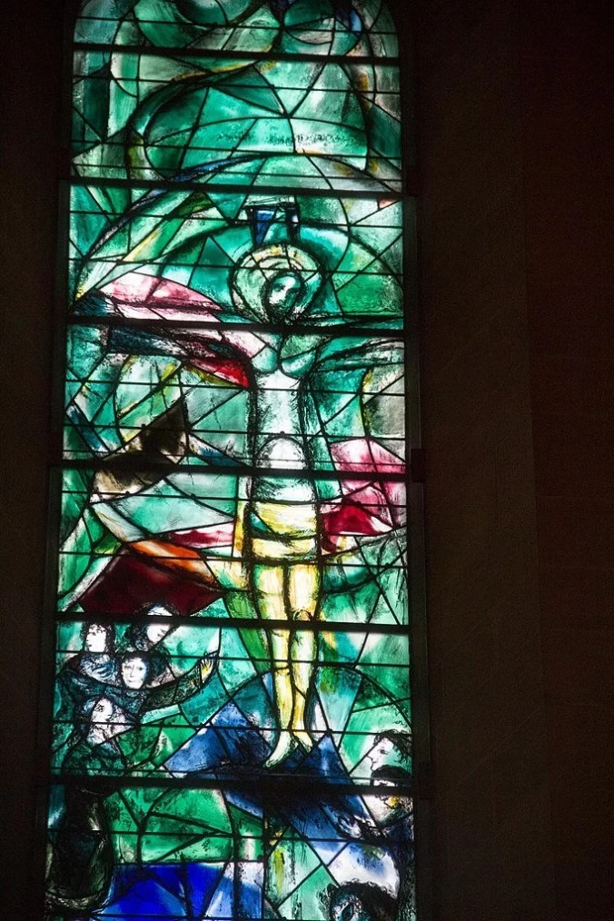 Marc Chagall Stained Glass Window depicting Christ at Fraumunster church Zurich