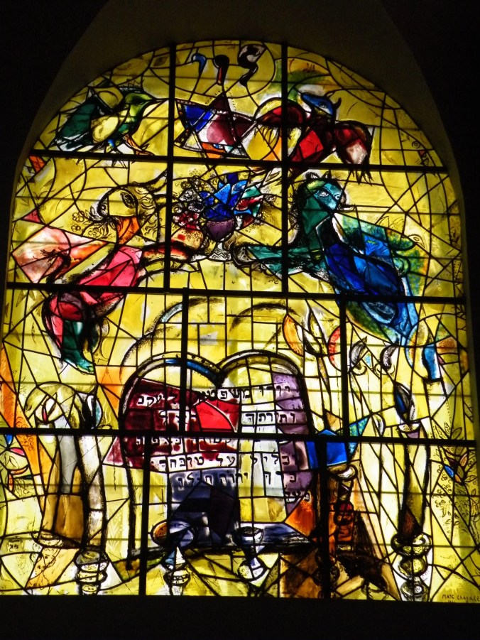 Marc Chagall stained glass window depicting the  Levi Tribe of Israel