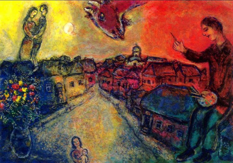 Artist over Vitebsk - Marc Chagall Painting