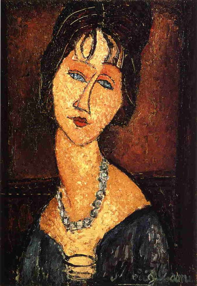 Modigliani painting of Jeanne Hébuterne with Necklace