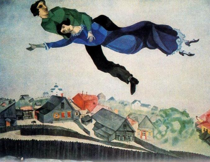Chagall Painting -  Over The Town 1918 Captures the scenery of Vitebsk, Russia