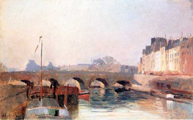 Pont Neuf in the morning - Lebourg painting