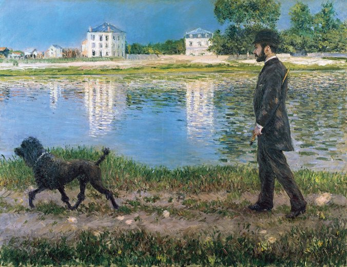 Gustave Caillebotte Painting - A man walking his dog by the river