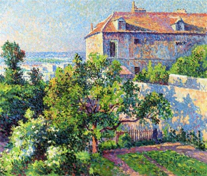 Maximilien Luce painting - Montmartre, Paris - Pointillism Art