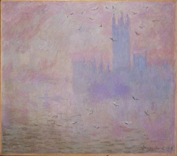 Houses of Parliament and Seagulls - Monet Impressionism Painting