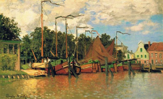 The boats in Zaandam - Claude Monet Famous Paintings