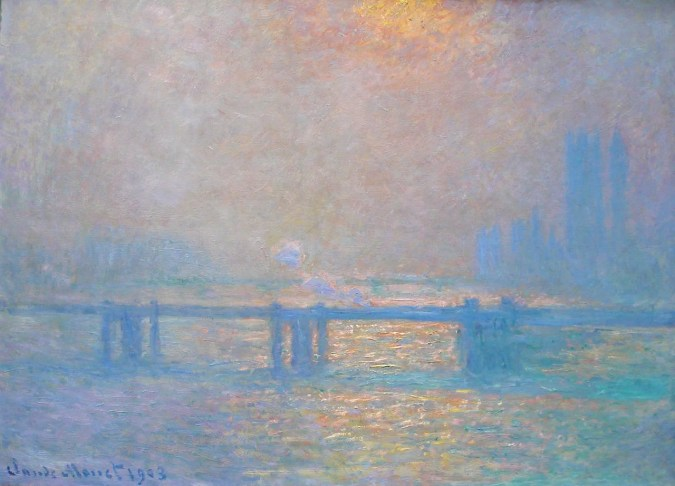 Charing Cross Bridge and Houses of Parliament in the Background - Claude Monet impressionism Painting
