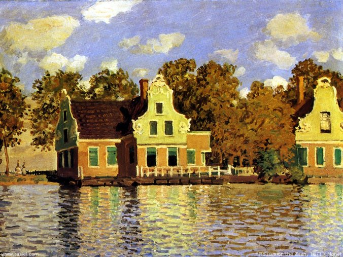 Houses on the Zaandam River - Claude Monet  Famous Painting