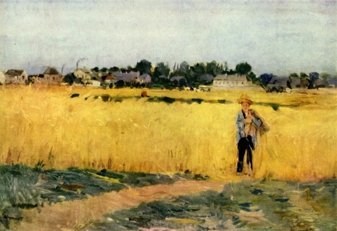 Female Impressionist, Berthe Morisot painting - In the Wheatfields