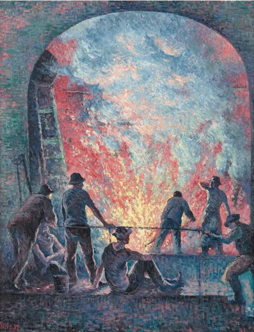 Steelworkers - Neo-Impressionism - Pointillism Art - Maximilien Luce painting