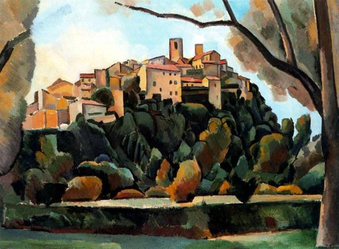 Andre Derain painting of Saint Paul de Vence in Cubism Style