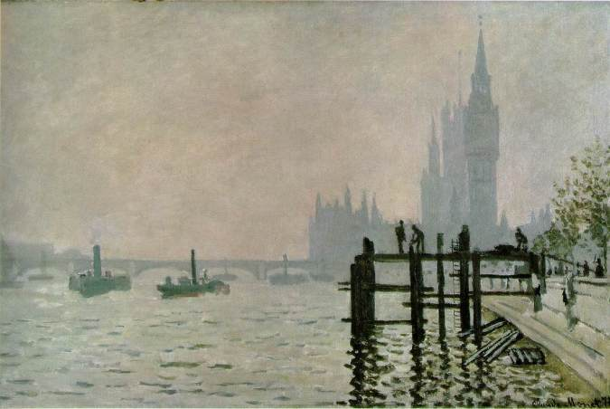 Westminster in the Background - Claude Monet Painting