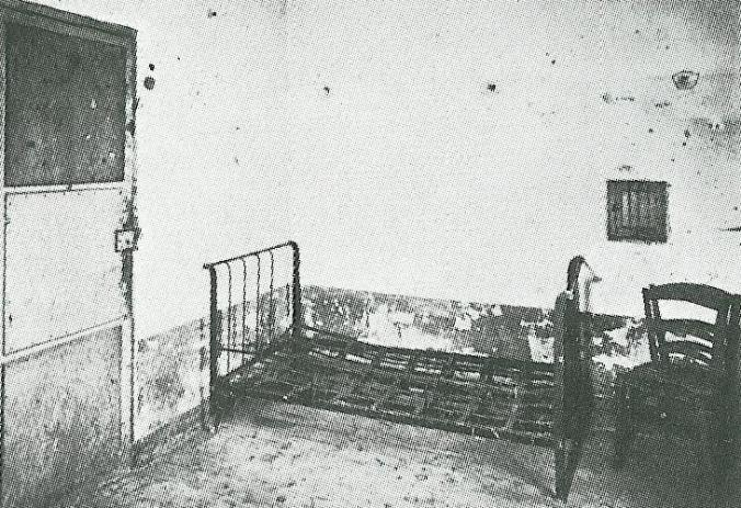 An old photo of a bedroom in the St. Remy Asylum