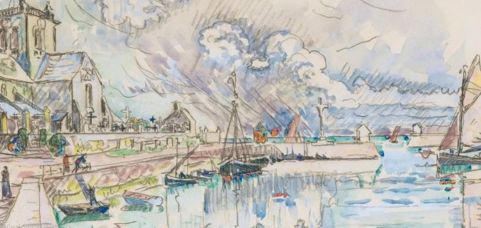 Barfleur Harbour - Paul Signac Painting