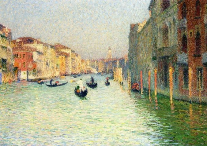 Gondolas in Venice - Neo-Impressionism Painter Henri Martin