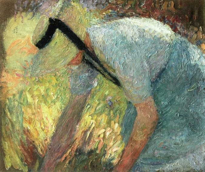 Painting of a woman picking flowers - Henri Martin Painting