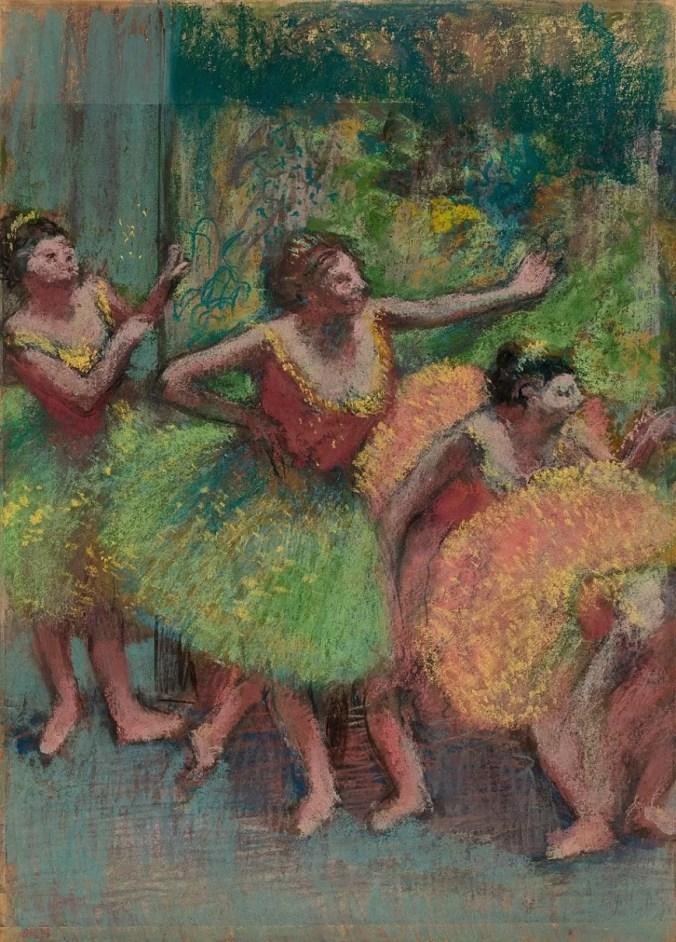 Dancers in Green and Yellow - Edgar Degas pastels