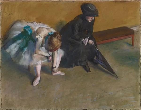 Edgar Degas painting of a ballerina sitting down & waiting