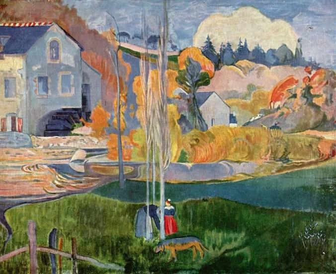 Paul Gauguin Painting - Pont Aven landscape