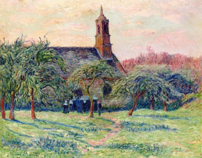 Church in Pont Aven - Henri Moret Painting