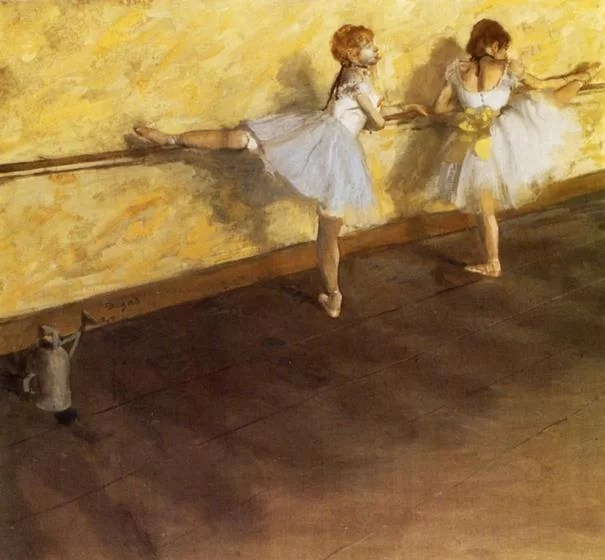 Dancers Practicing at the Bar - Painting by Edgar Degas