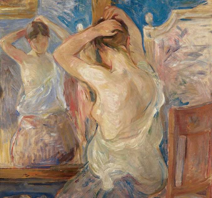 Impressionism painting of a woman looking in the mirror