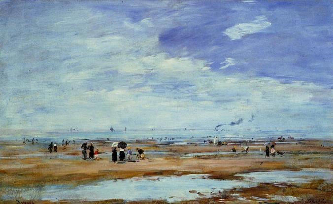 Deauville, the Beach, Low Tide - Eugene Boudin Painting
