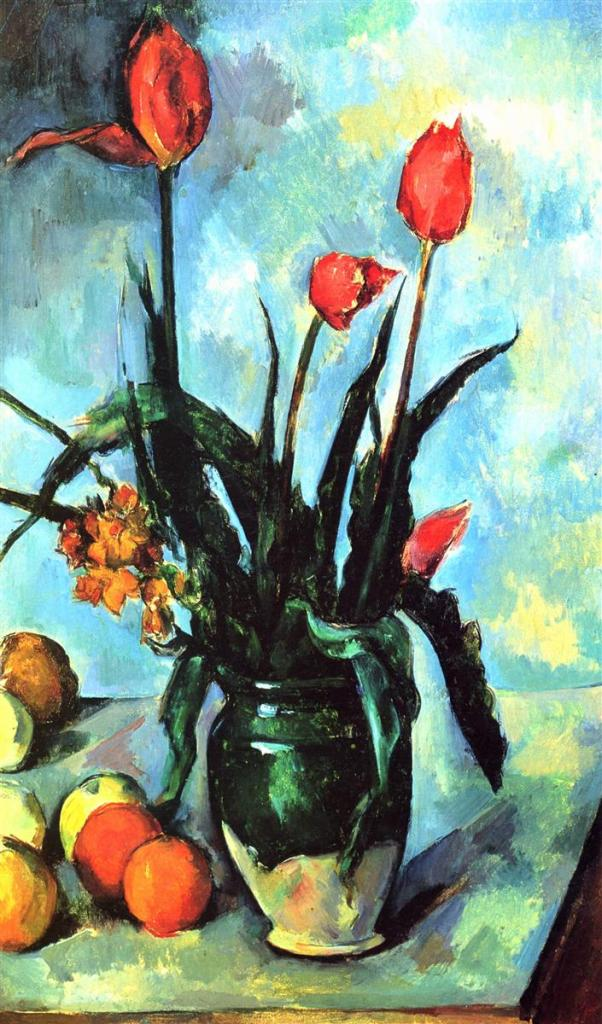Paul Cezanne still life painting - Tulip in a Vase