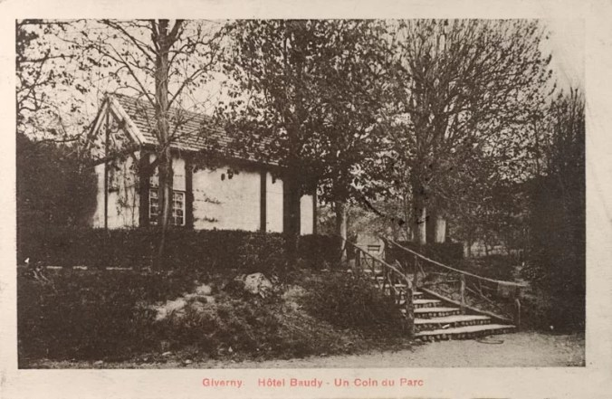 The beautiful gardens in Hotel Baudy - old photo