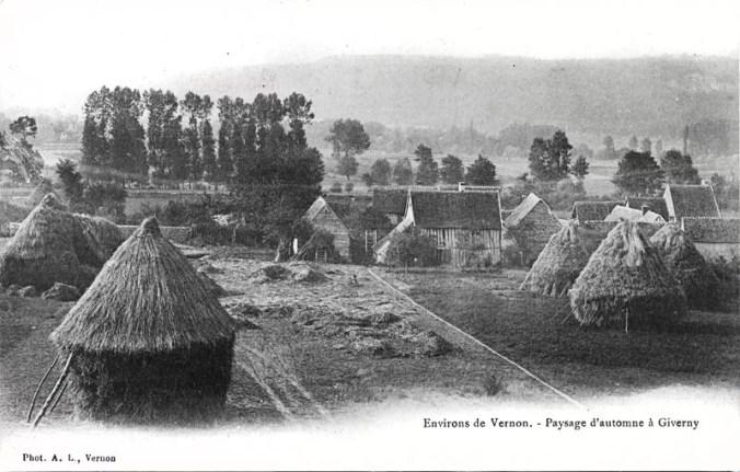 Giverny haystacks  & countryside - Vintage photo