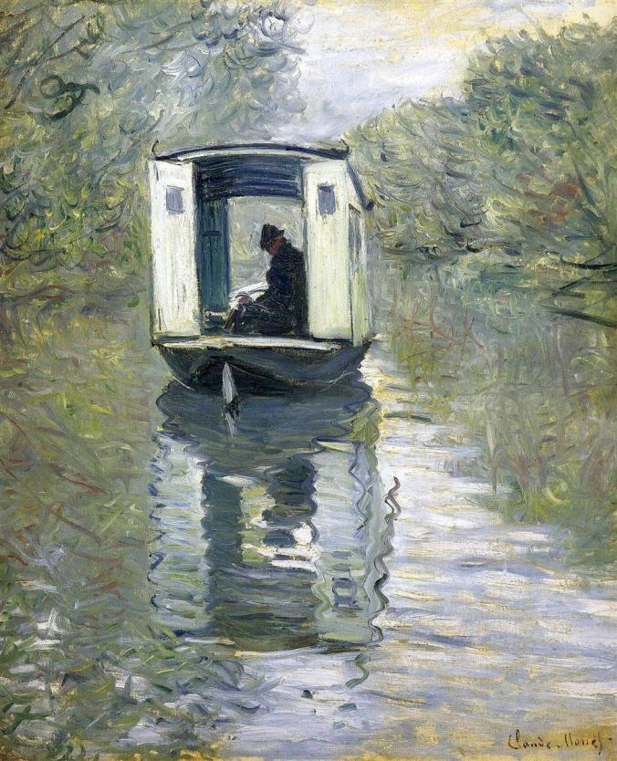 Claude Monet Painting of his Floating Studio in Argenteuil