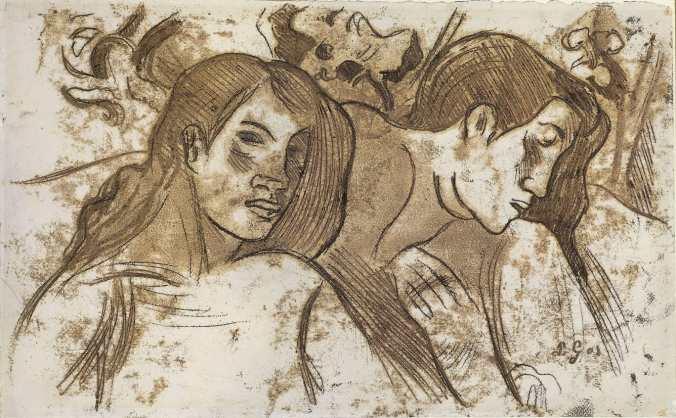 Paul Gauguin Print entitled:  Two Marquesans