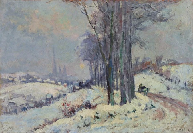 The Outskirts of Rouen Under Snow -  Robert Antoine Pinchon Painting