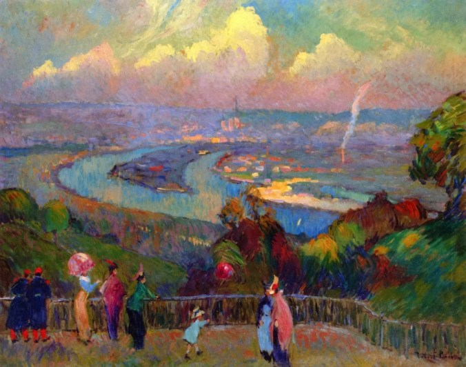 Robert Antoine Pinchon painting of Rouen, River Seine from the Heights of Caundebec