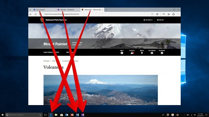 Вкладки и панель задач Windows 10