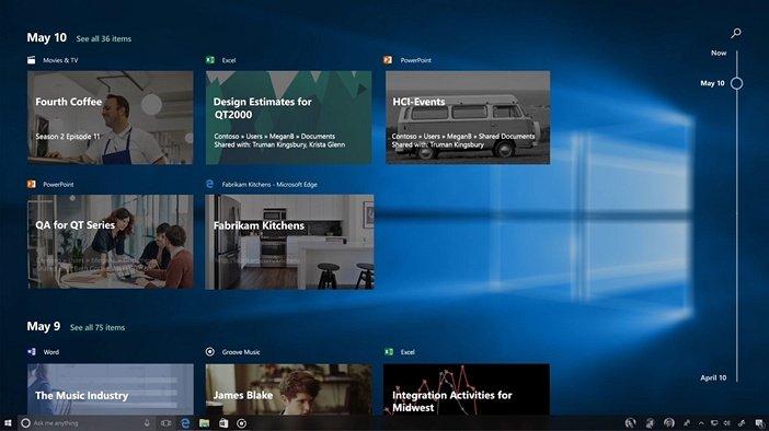 Windows 10 активности
