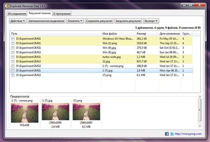 Дубликаты фото в Duplicate Remover Free