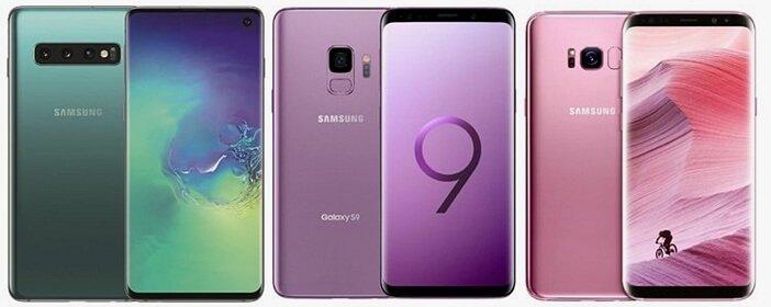 Galaxy S10, S9 и S8 бок о бок с обеих сторон