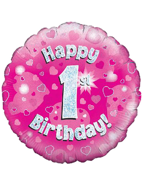 18inch Happy 1st Birthday Pink Holographic Balloon Its My Party