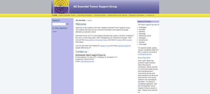 The New Zealand Essential Tremor Support Group